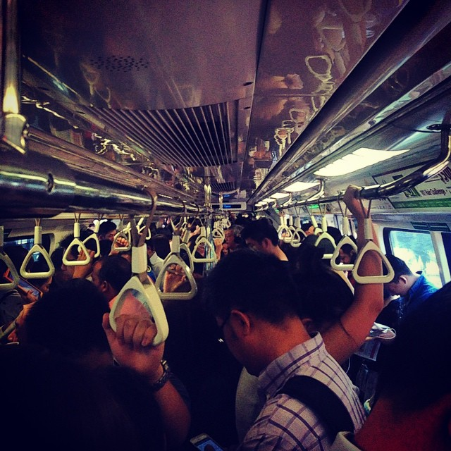 Peak hour on the MRT