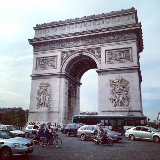 Insane traffic around the Arc De Triomphe