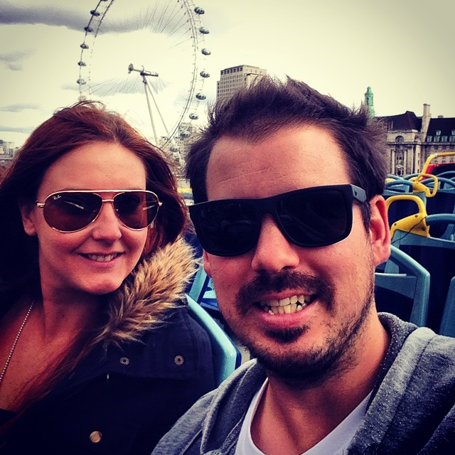 London eye selfie from a tourist bus