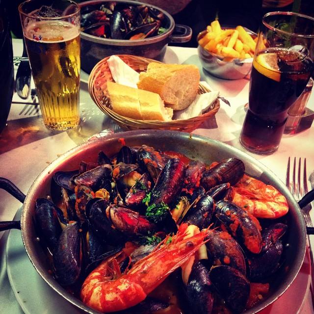 Late seafood dinner