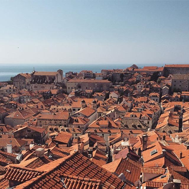 Rooftops and water in Dubrovnik