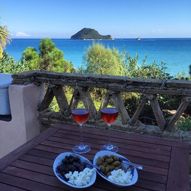Rosè and Olives and that view from our Airbnb
