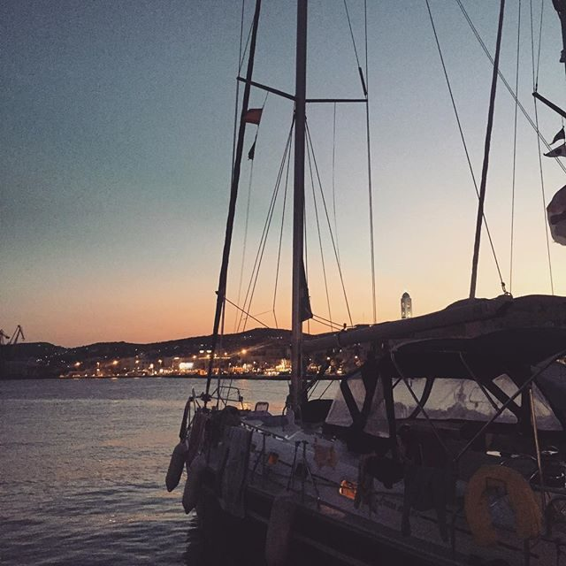 Our yacht at sunset in Syros