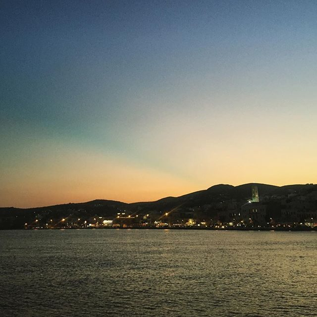 Sunset in Syros from the yacht