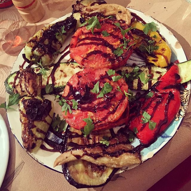 Delicious grilled veggie plate