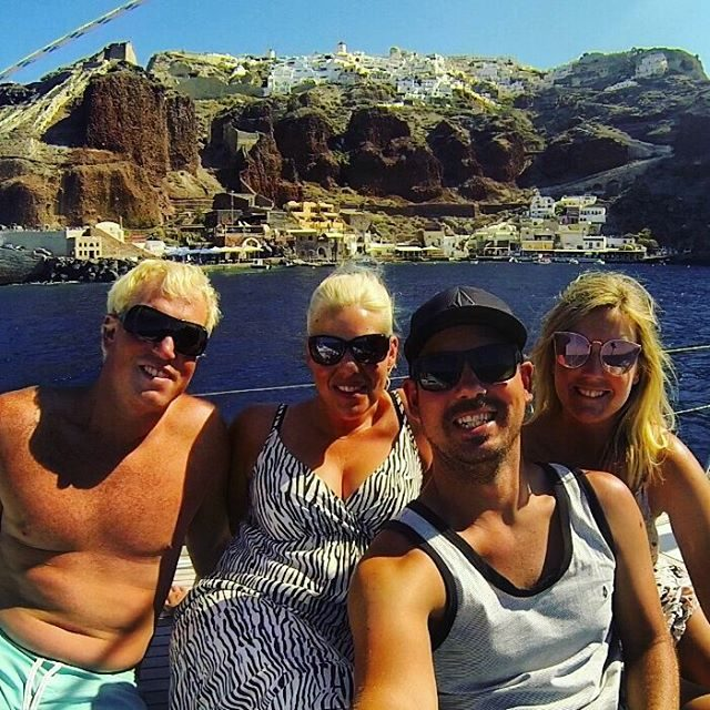 The crew in Santorini