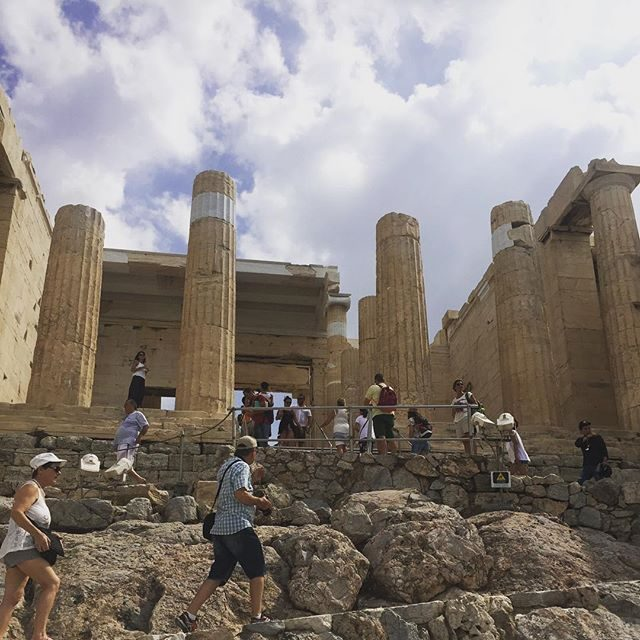 Walking up the slopes of the Acropolis