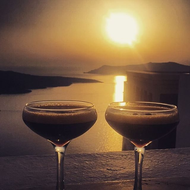 Sunset in Fira calls for Espresso Martinis