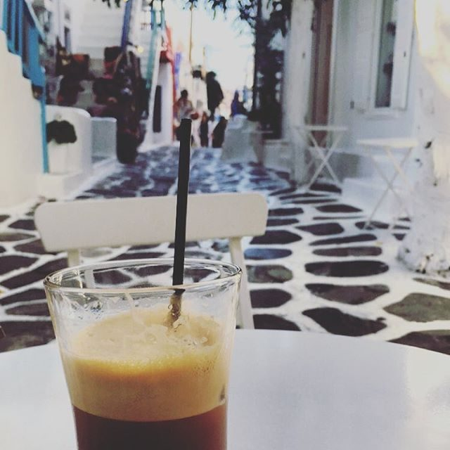 People watching and coffee break in Mykonos