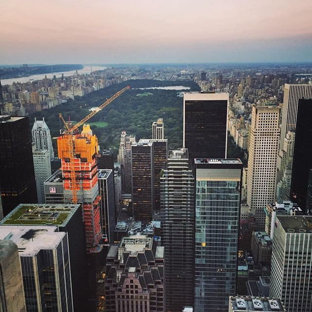 Looking North from the top of the rock at dusk