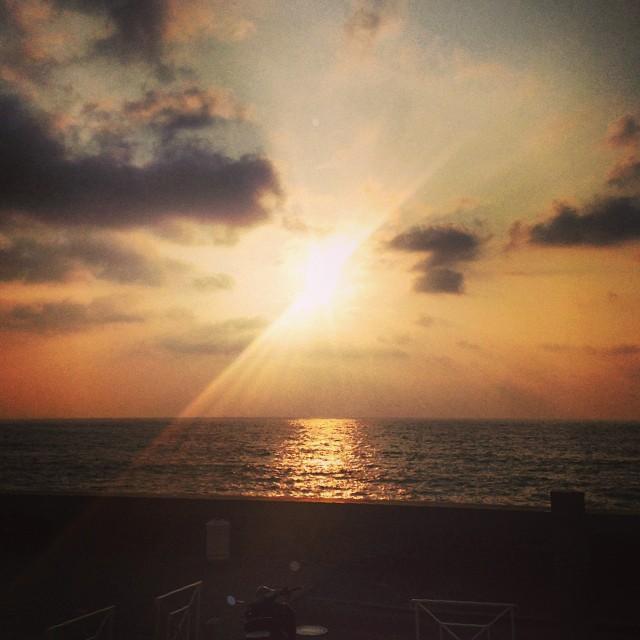 Biarritz sunset at dinner