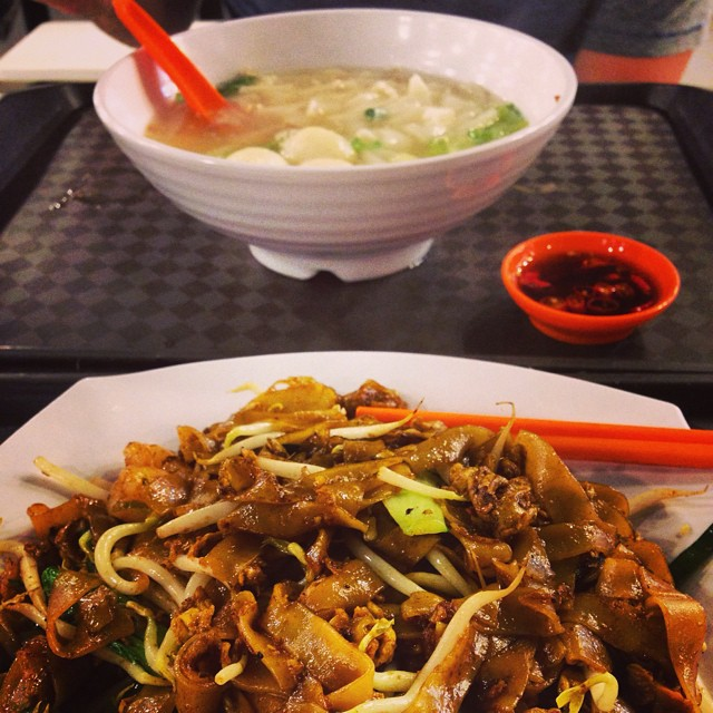 Fried Kway Teow and Fishball Soup.. breakfast Singapore style