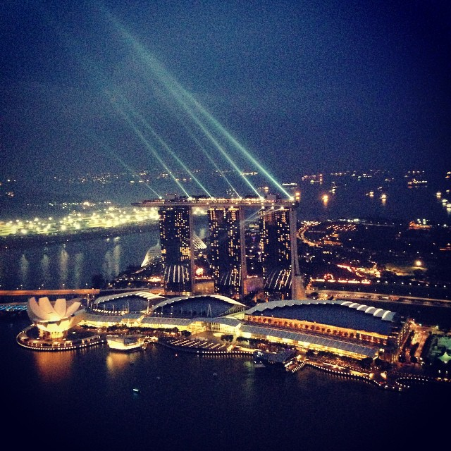 Marina Bay Sands from a rooftop bar