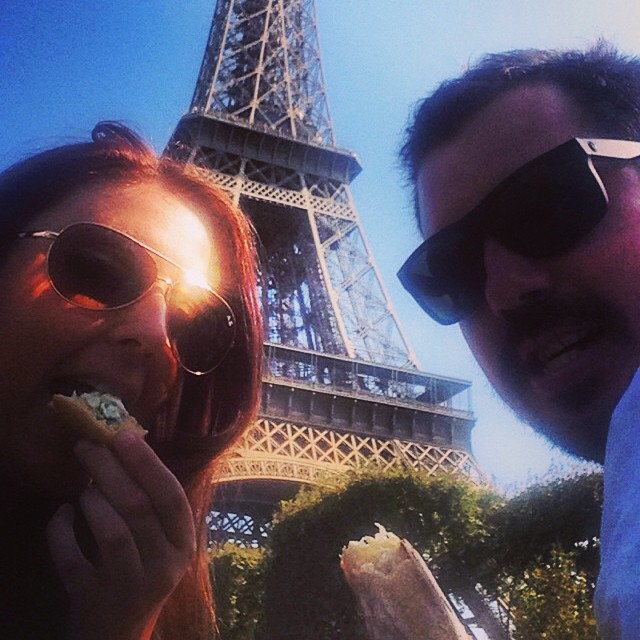 Eating baguettes and taking in the view!