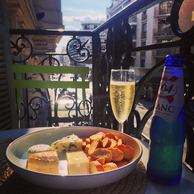 Cheese, Wine & Beer on our balcony!