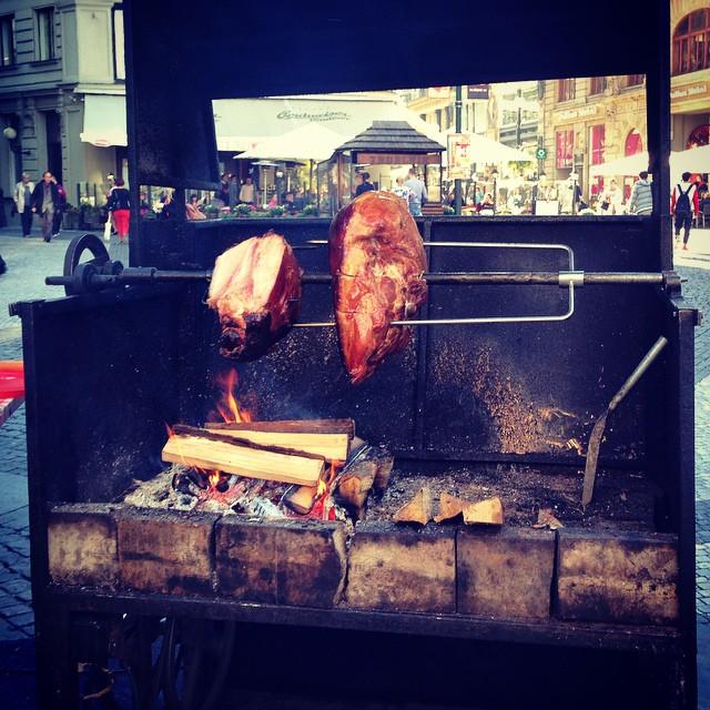 Roasting ham on the street