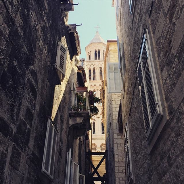 Bel tower at the end of a laneway in Split