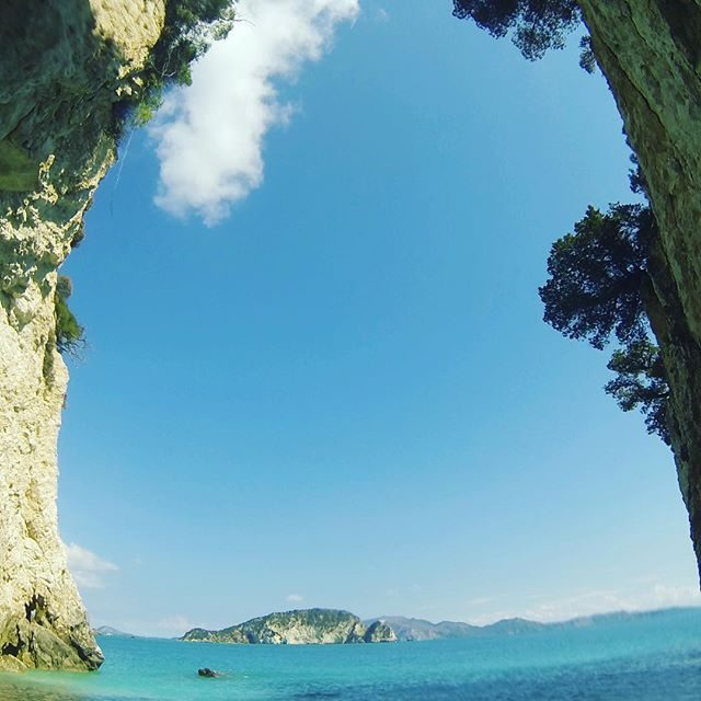 View of Turtle Island from inside the Keri Caves