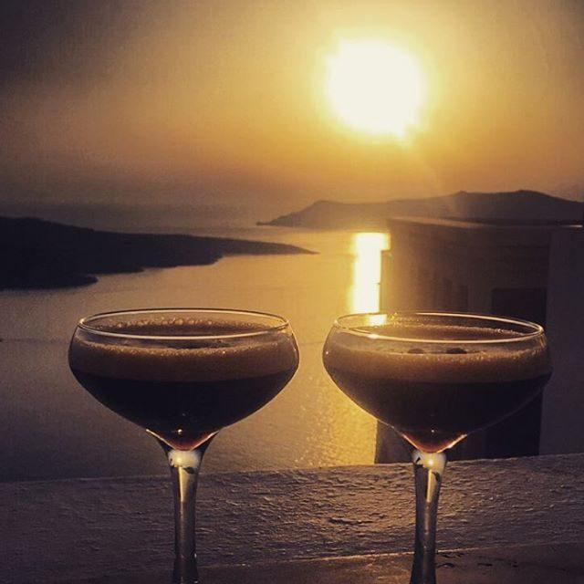 Sunset in Fira calls for Espresso Martinis
