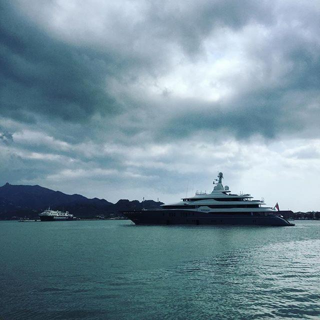 Zakynthos port and a super yacht