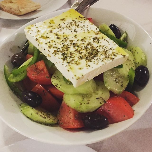 Just a small amount of feta with the Greek salads here
