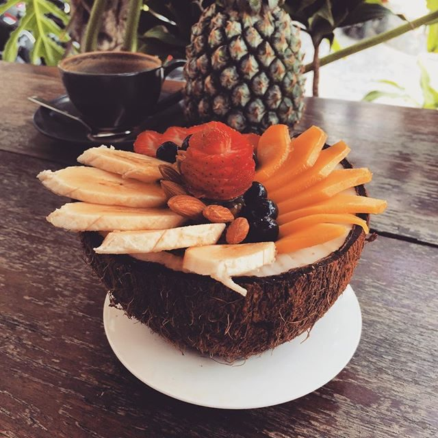 Acai bowl in a coconut